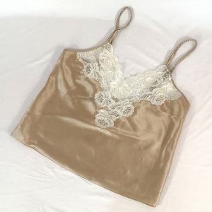 Tops - Gold & White Silky Beaded Camisole
